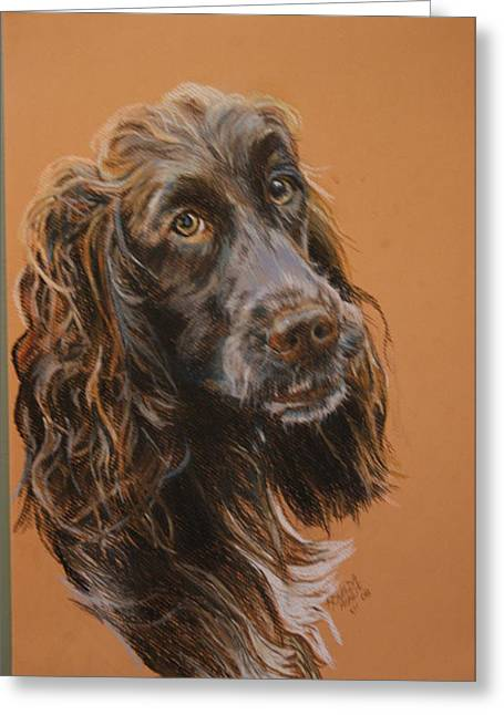 Commissions Pastels Greeting Cards - Dog Greeting Card by Ronelda Neufeld
