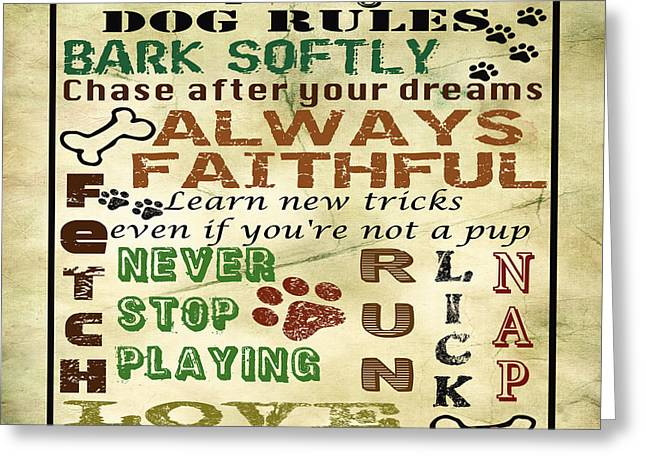 Cat Paw Print Greeting Cards - Dog Rule-JP1988 Greeting Card by Jean Plout
