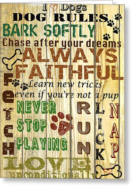 Cat Paw Print Greeting Cards - Dog Rules Greeting Card by Jean Plout
