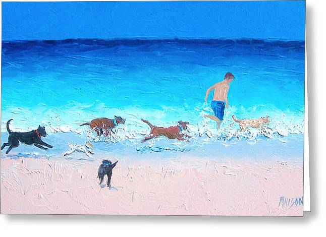 Dog Beach Print Greeting Cards - Dog Run Greeting Card by Jan Matson
