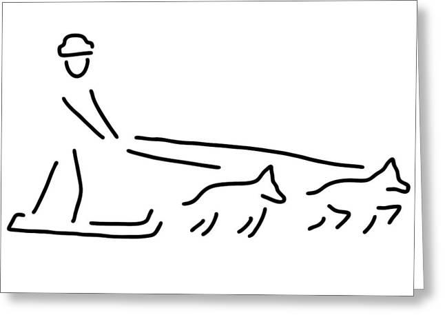 Sledge Drawings Greeting Cards - Dog Sledges Run Sledge Dogs Greeting Card by Lineamentum