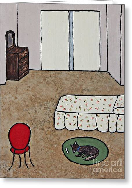 Dog Ceramics Greeting Cards - Essence of Home - Dog Sleeping On Bedroom Rug Greeting Card by Sheryl Young