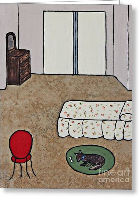 Acrylic Ceramics Greeting Cards - Essence of Home - Dog Sleeping On Bedroom Rug Greeting Card by Sheryl Young