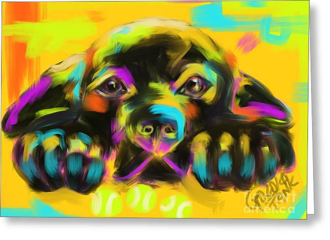 Modern Art Greeting Cards - Dog Tank Greeting Card by Go Van Kampen