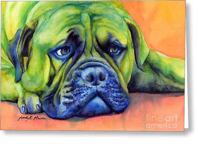 Dog Portraits Greeting Cards - Dog Tired Greeting Card by Hailey E Herrera