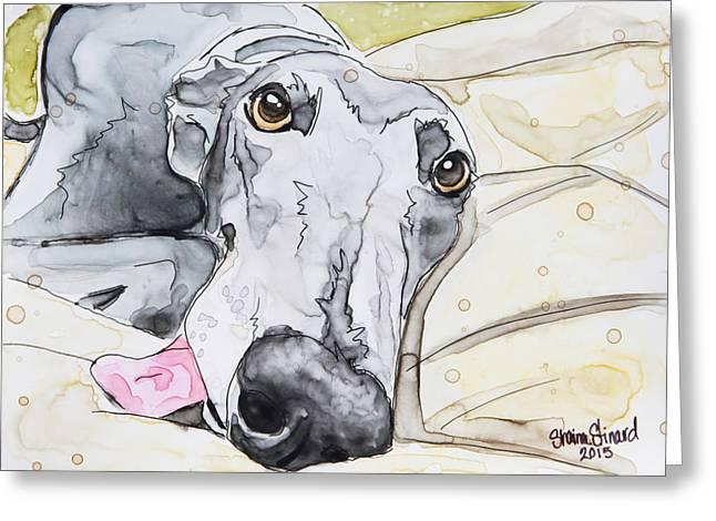 Greyhound Dog Paintings Greeting Cards - Dog Tired Greeting Card by Shaina Stinard
