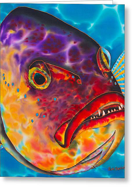 Original Art Tapestries - Textiles Greeting Cards - Dog Tooth  Snapper Greeting Card by Daniel Jean-Baptiste