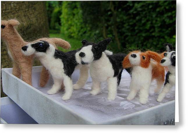 Toy Dog Sculptures Greeting Cards - Dog Tribe Greeting Card by Maria Joy