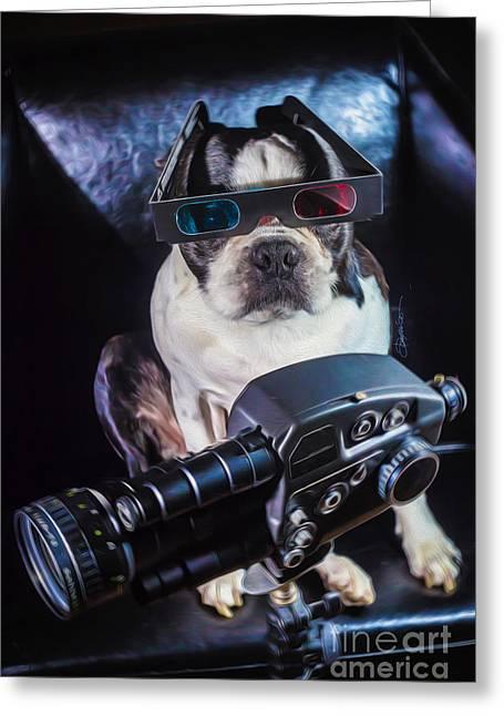 3-d Glasses Greeting Cards - Dog Videographer Greeting Card by Domenico Castaldo