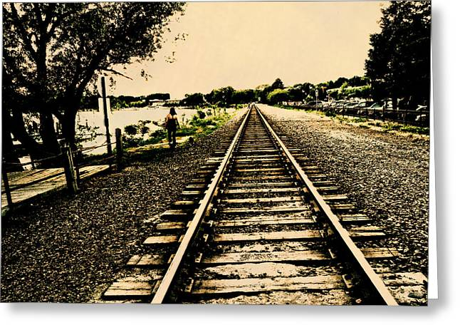 Dog Walking Digital Art Greeting Cards - Dog Walk along the Wayzata Train Tracks Greeting Card by Susan Stone