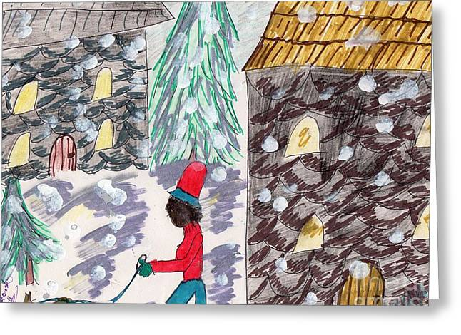 Dog Walk In The Snow Greeting Card by Elinor Rakowski