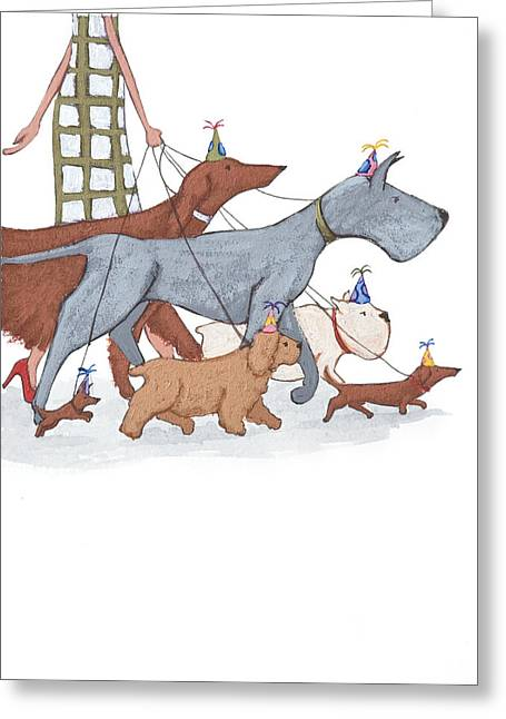 Dog Drawings Greeting Cards - Dog Walker Greeting Card by Christy Beckwith