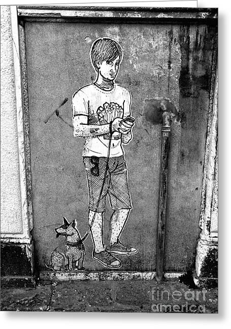 Dog Walker Greeting Cards - Dog Walker in Venice Greeting Card by John Rizzuto