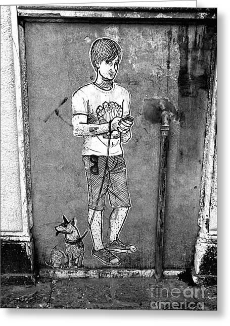 Dog Walker In Venice Greeting Card by John Rizzuto