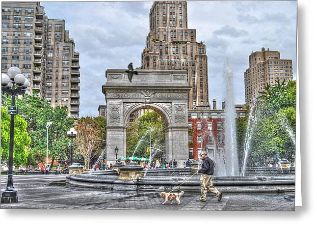Greenwich Village Greeting Cards - Dog Walking at Washington Square Park Greeting Card by Randy Aveille