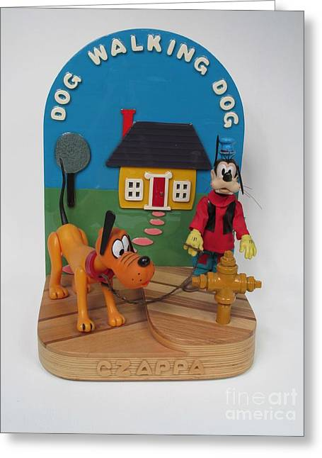 Cartoon Sculptures Greeting Cards - Dog Walking Dog Greeting Card by Bill Czappa