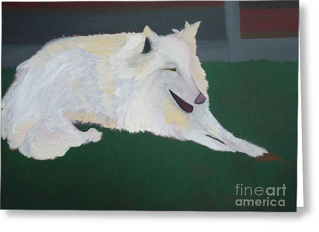 Guard Dog Paintings Greeting Cards - Dog with a bone Greeting Card by Sophia Landau
