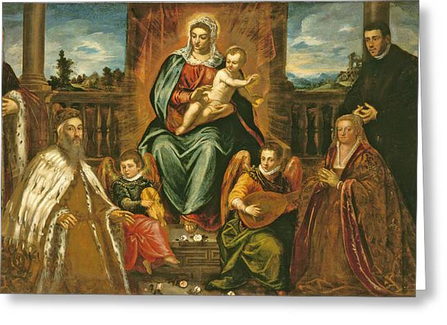 Virgin Mary Greeting Cards - Doge Alvise Mocenigo And Family Before The Madonna And Child, C.1573 Oil On Canvas Greeting Card by Jacopo Robusti Tintoretto