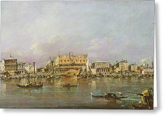 Doge Greeting Cards - Doges Palace And View Of St. Marks Basin, Venice Oil On Canvas Greeting Card by Francesco Guardi