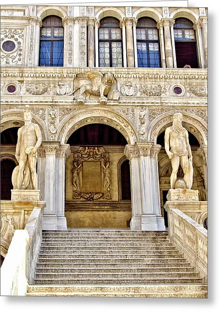 The Piazza Greeting Cards - Doges Palace Stairway - Venice Italy Greeting Card by Jon Berghoff