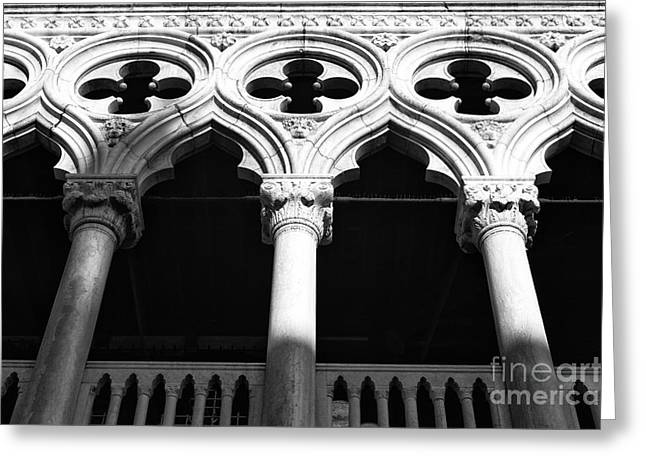 Venetian Balcony Greeting Cards - Doges Shadows Greeting Card by John Rizzuto