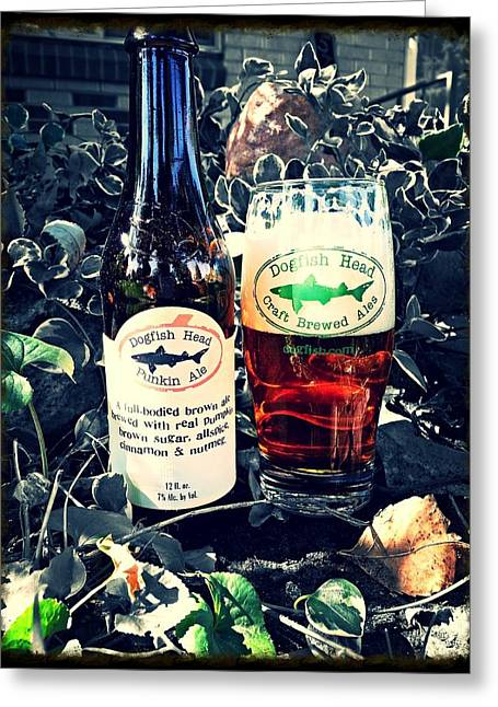 Dogfish Beer Greeting Cards - Dogfish Head Punkin Ale Greeting Card by Kyle Vick