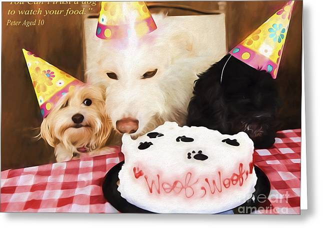 Party Hat Prints Greeting Cards - Doggie Birthday Party Cake Greeting Card by Jan Tyler