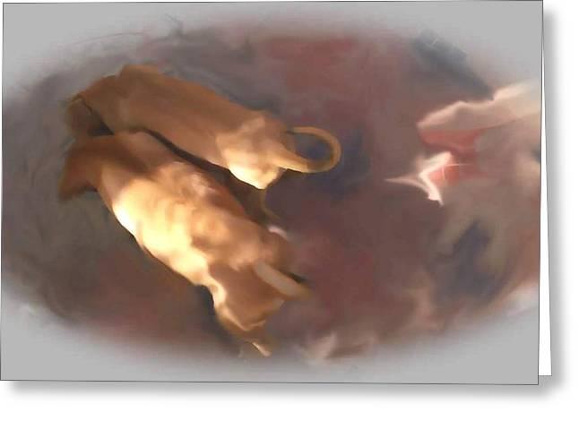 Doggie Brotherhood Greeting Card by Usha Shantharam