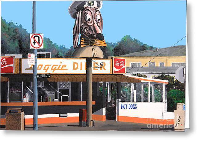Hot Dog Stand Greeting Cards - Doggie Diner 1986 Greeting Card by Wingsdomain Art and Photography