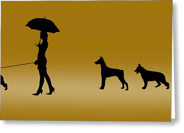 Dogs Digital Art Greeting Cards - Doggie Queue Greeting Card by Peter Stevenson