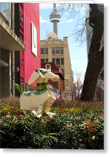 Dog Sculptures Greeting Cards - doggie with CN Tower Greeting Card by Alfred Ng
