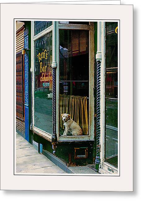 Dog In Window Greeting Cards - Doggy in the window version - 2 Greeting Card by Larry Mulvehill