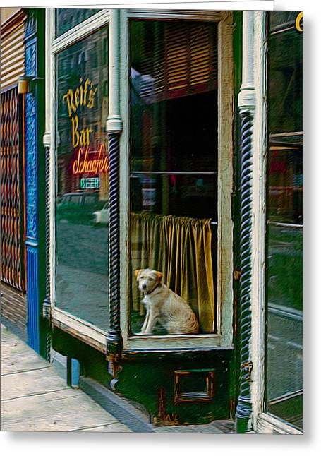 Dog In Window Greeting Cards - Doggy In The Window Version - 3 Greeting Card by Larry Mulvehill