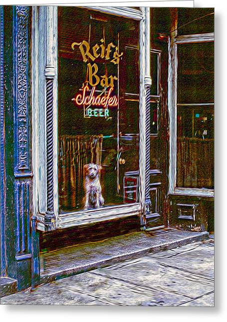 Dog In Window Greeting Cards - Doggy In The Window Version - 6 Greeting Card by Larry Mulvehill