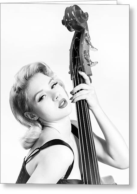 """""""fret Board"""" Greeting Cards - Doghouse Portrait of Mosh - Double Bass Greeting Card by Gary Heller"""