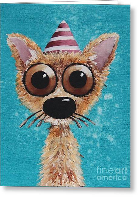Party Hat Greeting Cards - Dogitude Greeting Card by Lucia Stewart