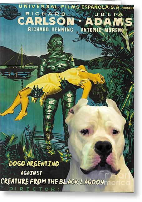 Creature From The Black Lagoon Greeting Cards - Dogo Argentino Art Canvas Print - Creature from the Black Lagoon Movie Poster Greeting Card by Sandra Sij