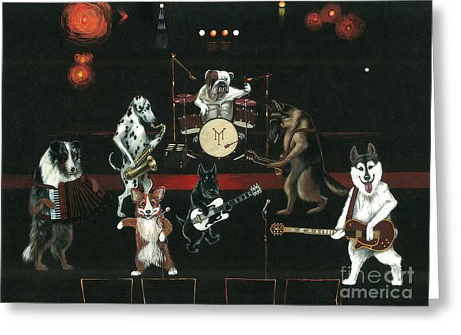 English Folk Music Greeting Cards - Dogpack Greeting Card by Margaryta Yermolayeva