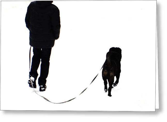 Dog Walking Greeting Cards - Dogs And Walks 1 Greeting Card by Svetlana Nilova