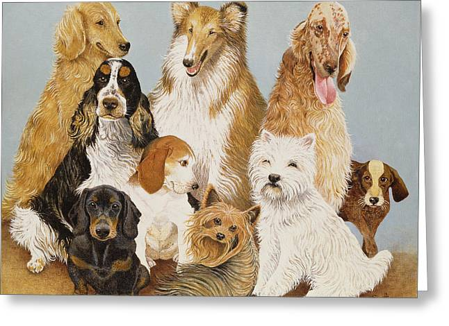 Golden Greeting Cards - Dogs Dinner Oil On Canvas Greeting Card by Pat Scott