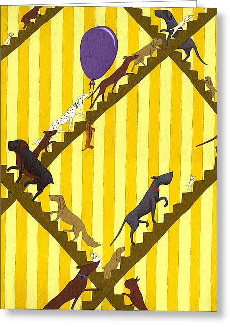 Striped Drawings Greeting Cards - Dogs Going Up Stairs Greeting Card by Christy Beckwith
