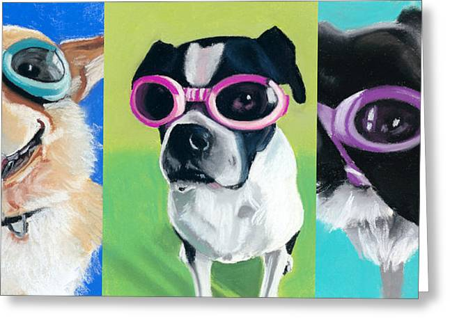Boston Pastels Greeting Cards - Dogs in Goggles Greeting Card by Ria Hills