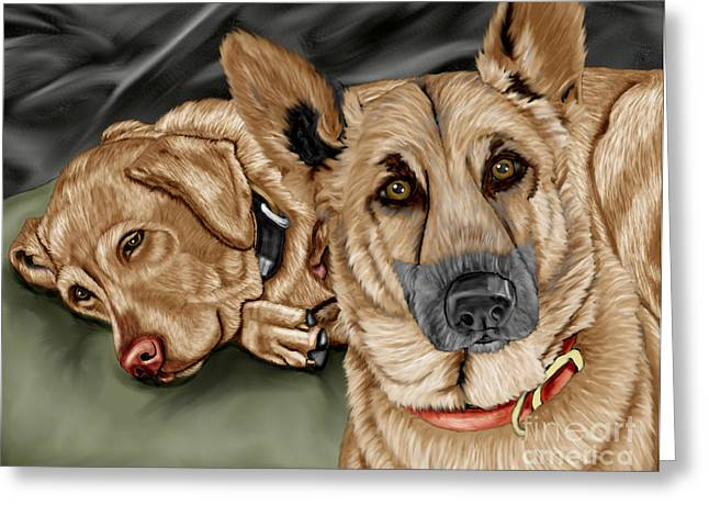 German Shepherd Greeting Cards - Dogs Greeting Card by Karen Sheltrown