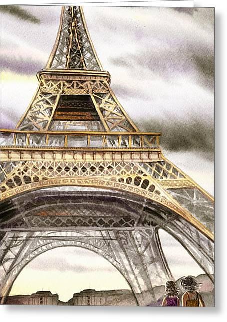 Dogs Like Paris Too Greeting Card by Irina Sztukowski