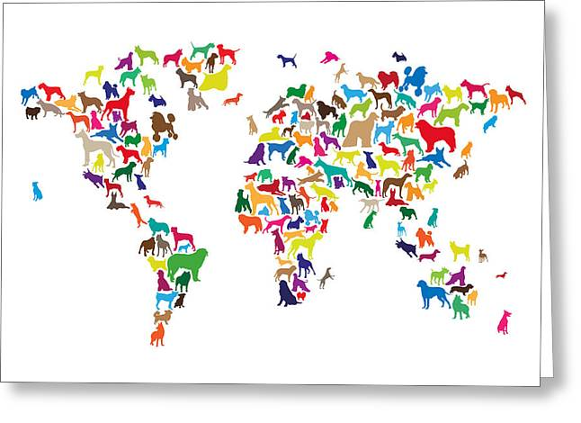 Canine Posters Greeting Cards - Dogs Map of the World Map Greeting Card by Michael Tompsett