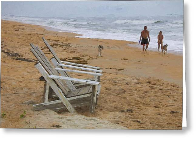 Adirondack Chairs On The Beach Greeting Cards - Dogs On The Beach Greeting Card by Alice Gipson