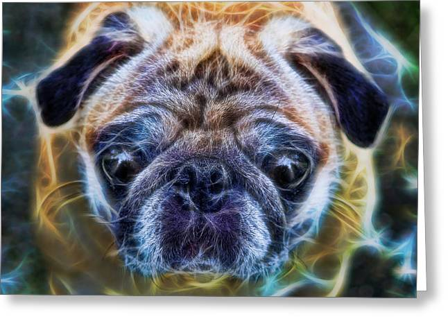 Twentieth Century Greeting Cards - Dogs - The Psychedelic Fantasy Pug Greeting Card by Lee Dos Santos