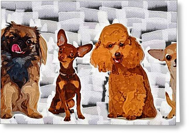 Puppies Paintings Greeting Cards - Dogs  Greeting Card by Victor Gladkiy