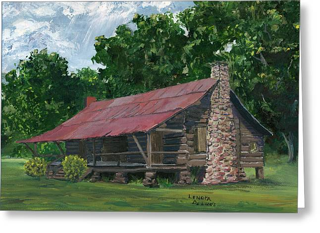 Dog Trots Paintings Greeting Cards - Dogtrot House in Louisiana Greeting Card by Lenora  De Lude