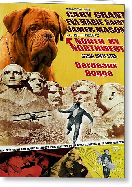 Dogue De Bordeaux Art Canvas Print - North By Northwest Movie Poster Greeting Card by Sandra Sij